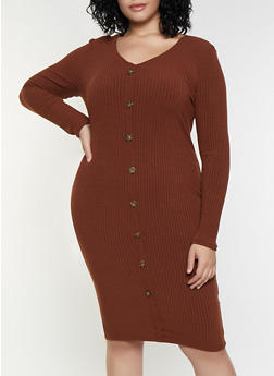 Plus Size Long Sleeve Button Dress - 3390038344964