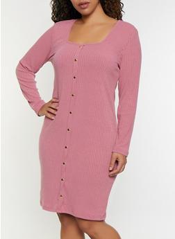 Plus Size Square Neck Button Dress - 3390038344965