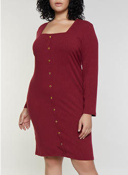 Plus Size Square Neck Button Dress - 3390038344965