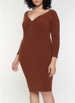 Plus Size Off the Shoulder Button Dress - 3390038344966