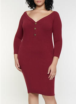 Plus Size Off the Shoulder Button Dress - 3390038344966