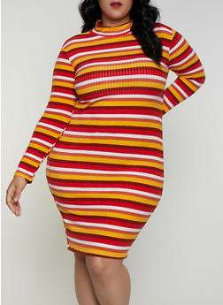 Plus Size Striped Mock Neck Dress - 3390038344970