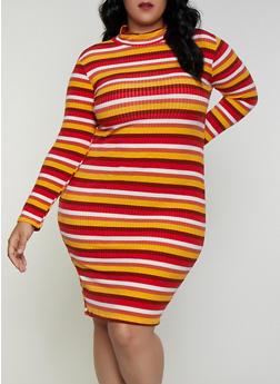 Plus Size Striped Mock Neck Dress - 3390038344970