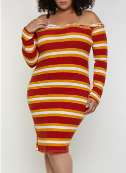 Plus Size Striped Lettuce Edge Off the Shoulder Dress - 3390038344973