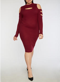 Plus Size Slit Ribbed Knit Cold Shoulder Dress - 3390038347370