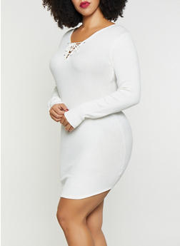 Plus Size Lace Up Sweater Dress - 3390038348350