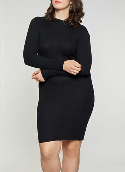Plus Size Rib Knit Sweater Dress - 3390038348352