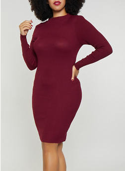 Plus Size Rib Knit Sweater Dress 3390038348352