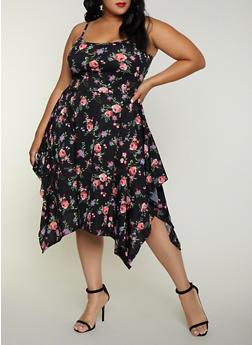 Plus Size Floral Asymmetrical Skater Dress - 3390038349088