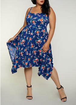 Plus Size Floral Asymmetrical Skater Dress - 3390038349088