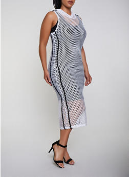 Plus Size Fishnet Hooded Dress - 3390038349693