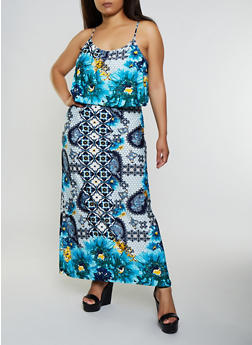 Plus Size Floral Overlay Maxi Dress - 3390038349800