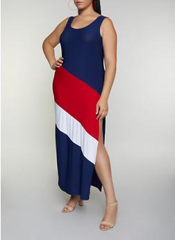 Plus Size Color Block Maxi Tank Dress - 3390038349885