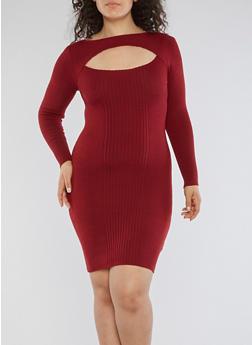 Plus Size Rib Knit Keyhole Sweater Dress - 3390051060001