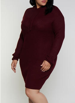 Plus Size Long Sleeve Hooded Sweater Dress - 3390051060090