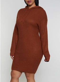 Plus Size Long Sleeve Hooded Sweater Dress - 3390051060090