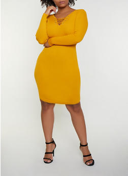 Plus Size Lace Up Sweater Dress | 3390051060091 - 3390051060091