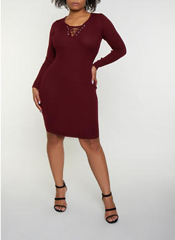 Lace Up Sweater Dress | 3390051060091 - 3390051060091