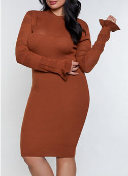 Plus Size Mock Neck Pointelle Sweater Dress - 3390051060093