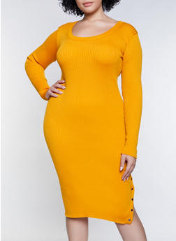 Plus Size Snap Detail Sweater Dress - 3390051060095