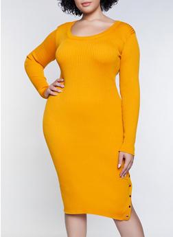 Plus Size Snap Detail Sweater Dress - 3390051060095