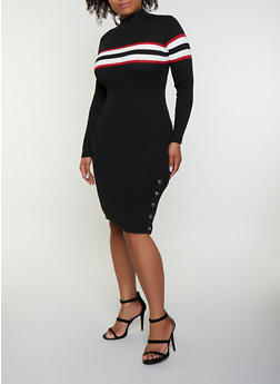 Ribbed Stripe Detail Sweater Dress - 3390051060096
