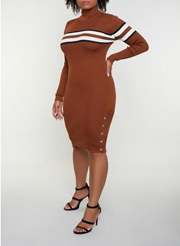 Ribbed Stripe Detail Sweater Dress - 3390051060096