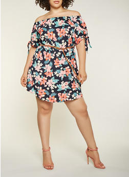 Plus Size Printed Off the Shoulder Dress - 3390051063971