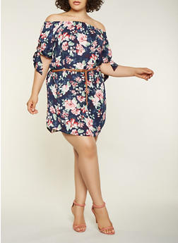 Plus Size Printed Off the Shoulder Dress - 3390051064971