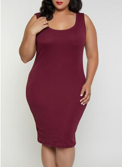 Plus Size Ribbed Midi Tank Dress - 3390054265277