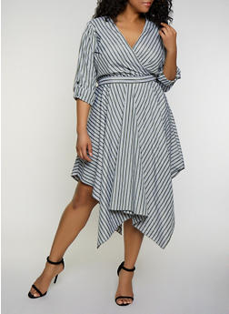 Plus Size Striped Asymmetrical Faux Wrap Dress - 3390056120210