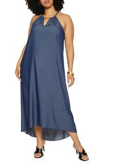 Plus Size Metallic Neck Detail Chambray Maxi Dress - 3390056120247