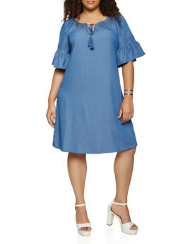 Plus Size Chambray Bell Sleeve Peasant Dress - 3390056120610