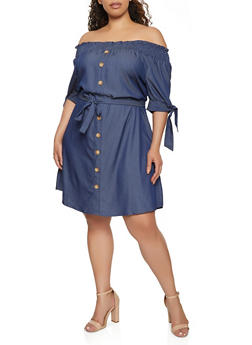 Plus Size Chambray Off The Shoulder Peasant Dress - 3390056120671