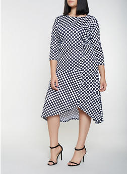 Plus Size Polka Dot Midi Dress - 3390056121403