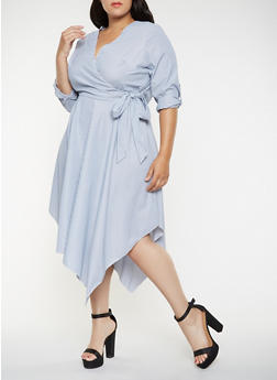 c716c273ada Plus Size Striped Faux Wrap Dress - 3390056121430