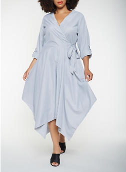 Plus Size Striped Faux Wrap Dress - 3390056121430