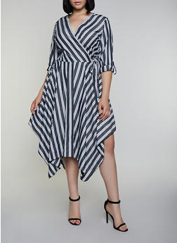 Plus Size Asymmetrical Striped Faux Wrap Dress - 3390056121505
