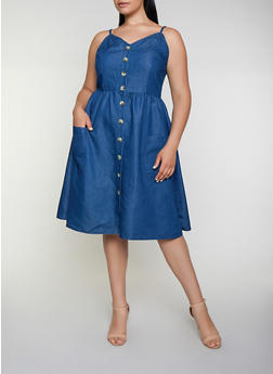 Plus Size Button Front Chambray Skater Dress - 3390056121531