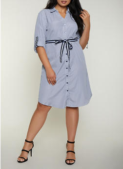 Plus Size Striped Tie Waist Shirt Dress - 3390056121722