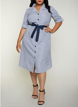 Plus Size Striped Belted Button Front Shirt Dress - 3390056121723