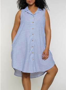 Plus Size Striped Sleeveless Shirt Dress - 3390056121884