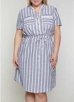 Plus Size Striped Half Button Linen Dress - 3390056121922