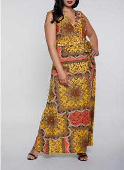 Plus Size Printed Sleeveless Maxi Dress - 3390056121927