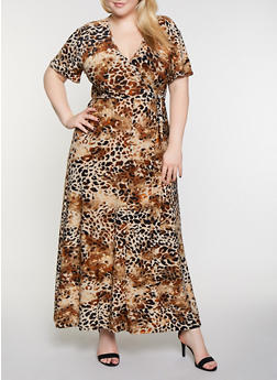 Plus Size Faux Wrap Animal Print Maxi Dress - 3390056121933