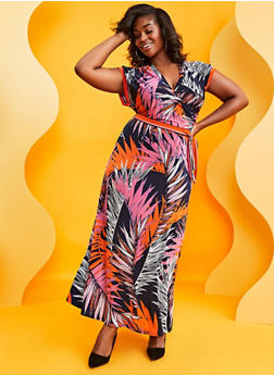 Plus Size Faux Wrap Tropical Print Maxi Dress - 3390056121940