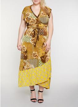 Plus Size Floral Chain Print Faux Wrap Maxi Dress - 3390056121942