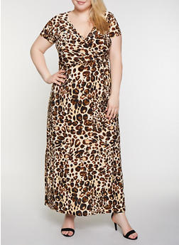 Plus Size Animal Print Faux Wrap Maxi Dress - 3390056121946