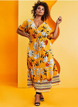 Plus Size Border Floral Print Faux Wrap Maxi Dress - 3390056121956