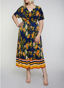Plus Size Faux Wrap Floral Border Print Maxi Dress - 3390056121957